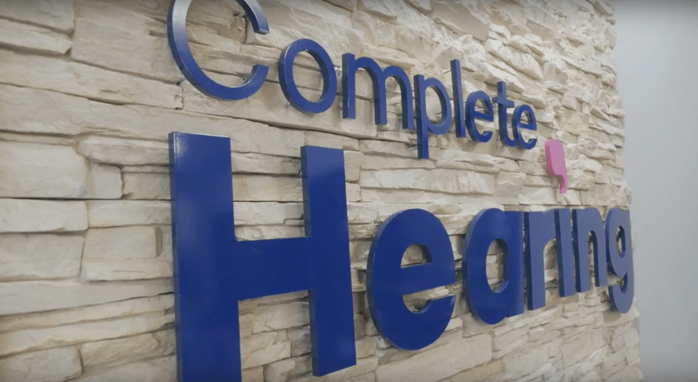 complete hearing front sign